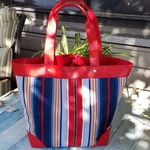 Lancome striped tote